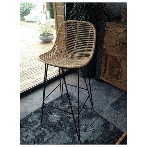 tabouret hauts en rotin. Black Bedroom Furniture Sets. Home Design Ideas
