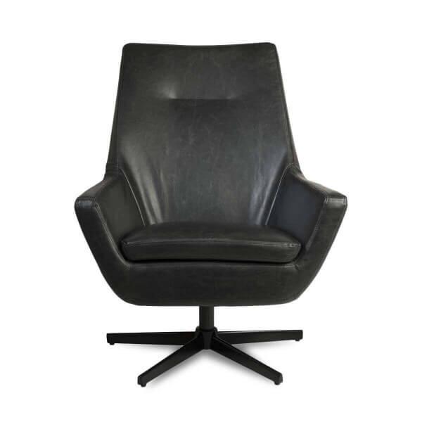 fauteuil salon simili cuir noir