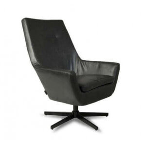RETRO LOUNGE - Black leather look living room armchair