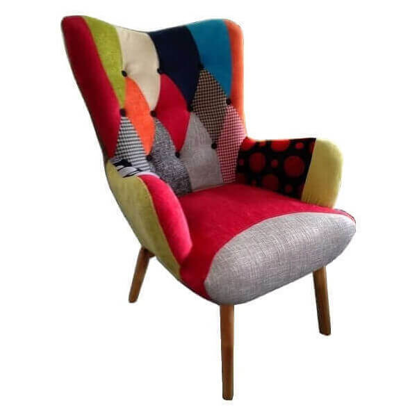 JAVA - Patchwork fabric living room armchair