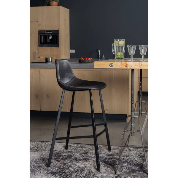 Chaise ou tabouret de bar assise cuir noir for Chaise de bar ajustable