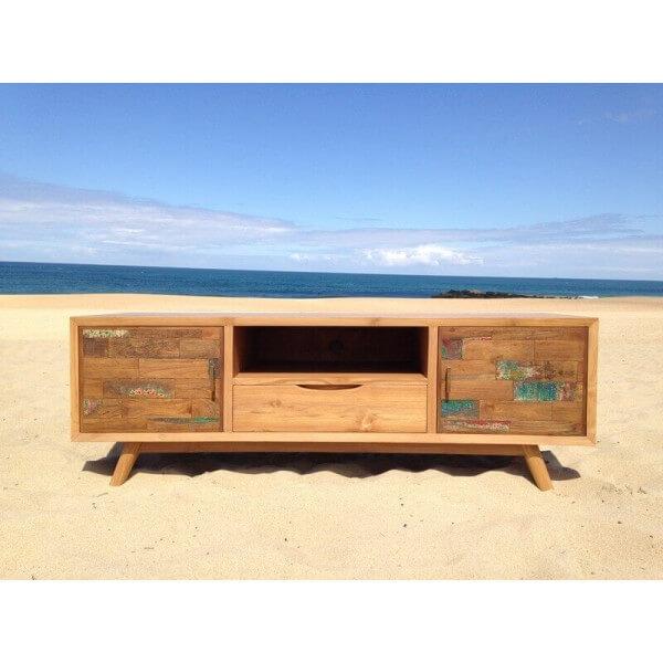 Meuble tv contemporain bois massif for Petit meuble de tele