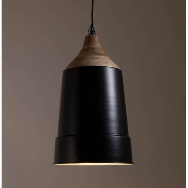Lampe suspendue bois et acier noir for Lampe suspendue
