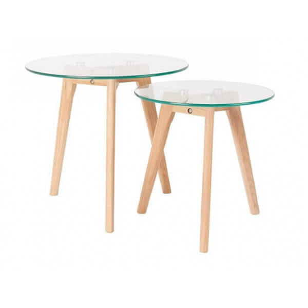 2 tables d'appoint verre