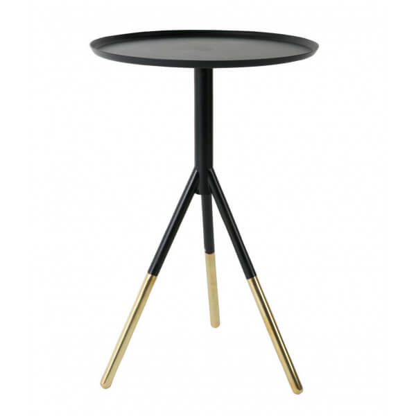 Small round table in black iron and brass