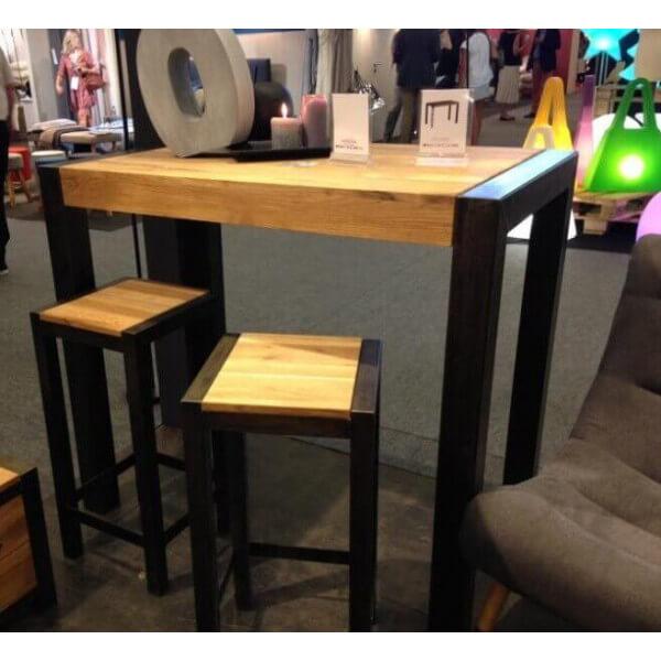 table haute bois acier. Black Bedroom Furniture Sets. Home Design Ideas
