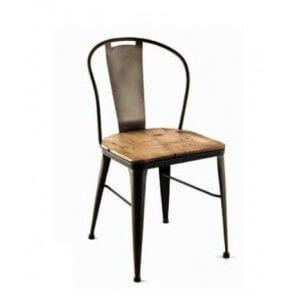 Chaise industrielle bois acier