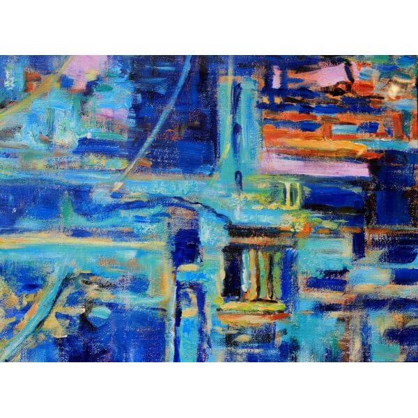 Tableau Abstrait Azur