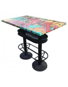 Table haute industrielle 110 Graffiti