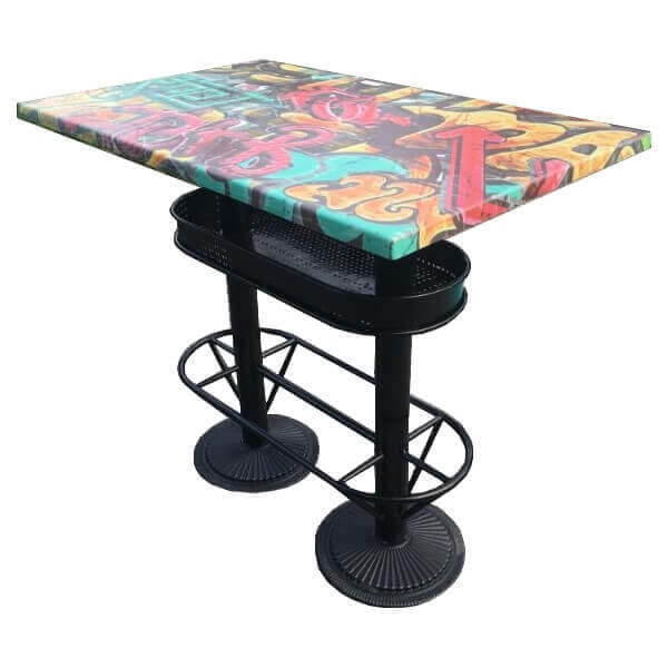 industrial heigh dining table graffiti. Black Bedroom Furniture Sets. Home Design Ideas