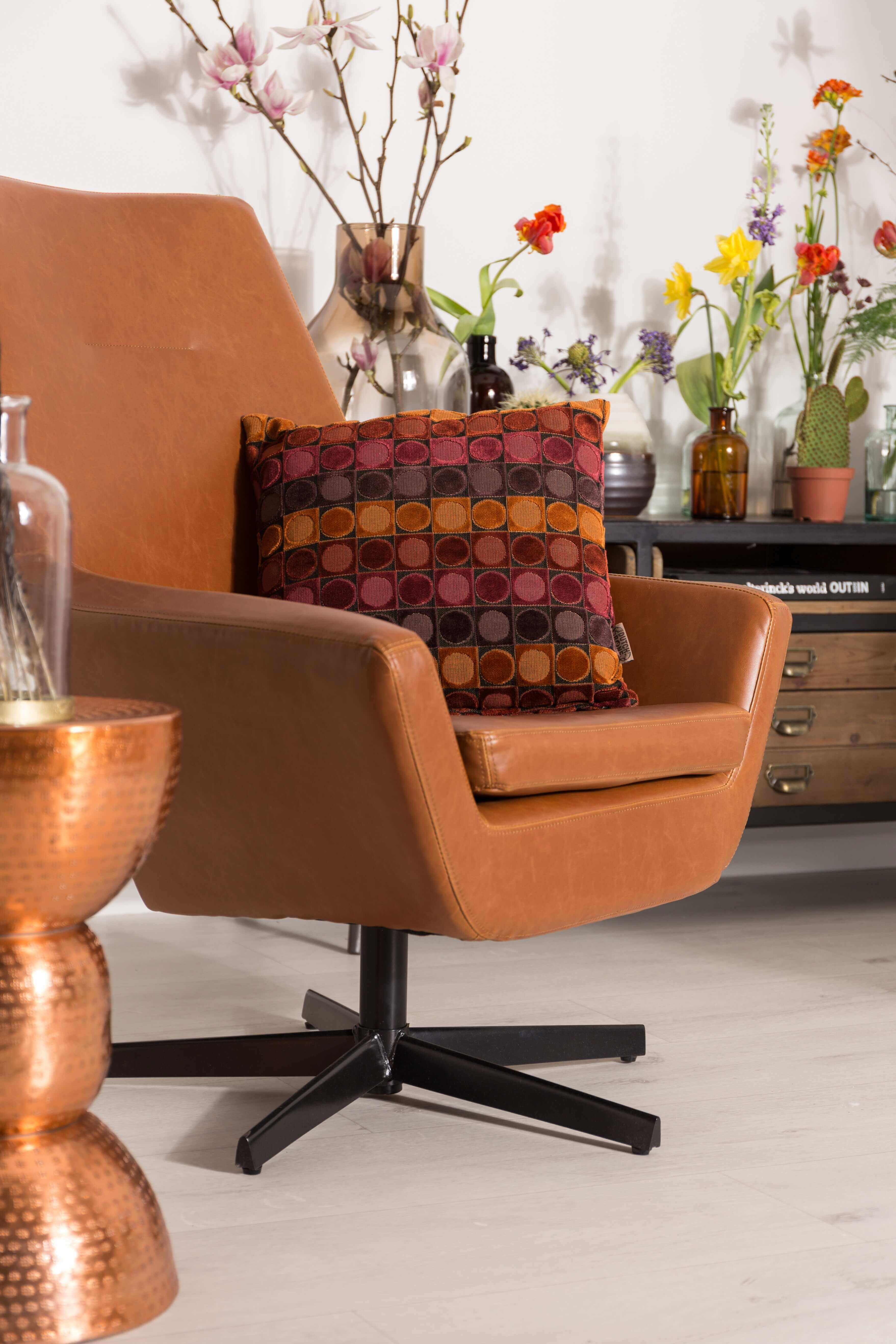 Leather Lounge Chair Retro Cognac