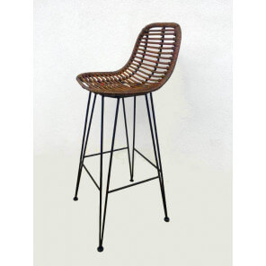 chaise bar rotin marron