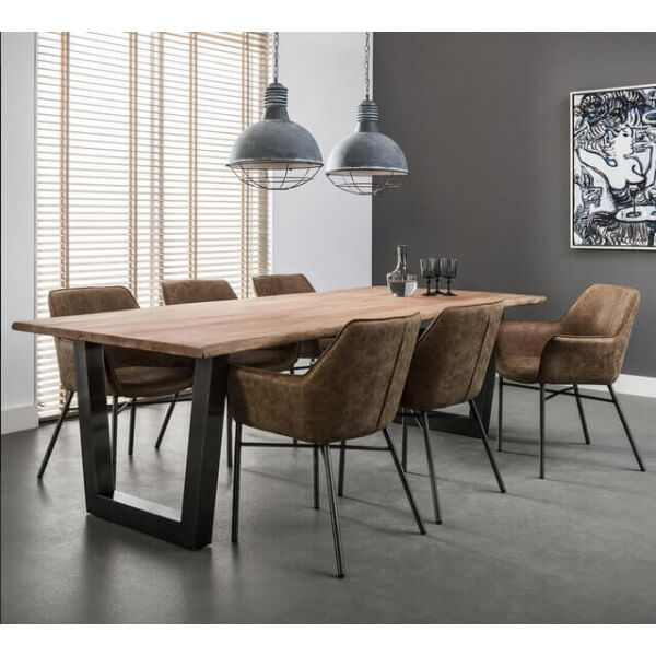 Table Bois Metal Design: Massive Dining Table