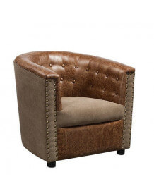 Fauteuil club lounge aspect cuir Boston