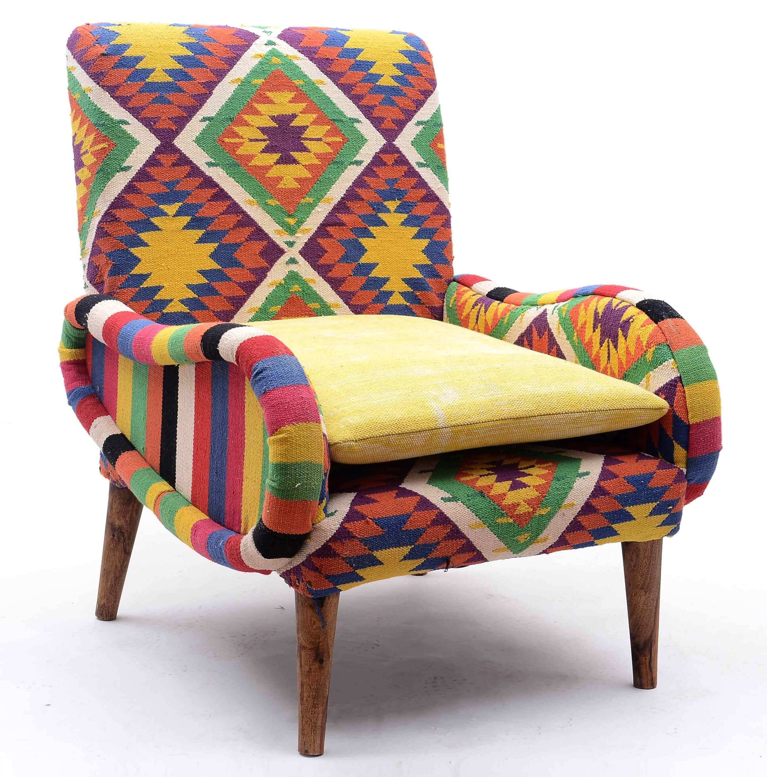 Marvelous Colorful Kilim Fabric Armchair Download Free Architecture Designs Rallybritishbridgeorg