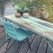 Table/console bleue vintage pliante