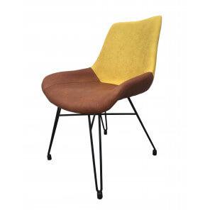 Chaise de repas loft industrielle jaune