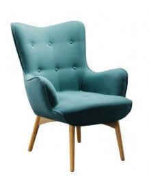 Fauteuil salon bleu turquoise