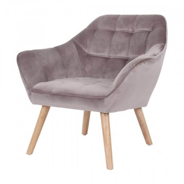 Fauteuil velours Sames taupe