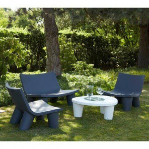 Grand salon de jardin Slide Gris-blanc