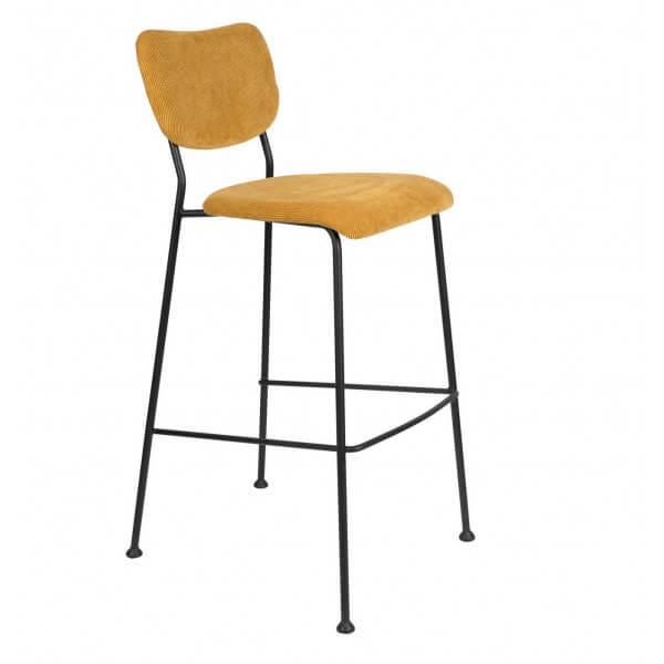 Yellow Velvet bar stool Benson Zuiver