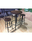 PUB - Heigh dining set in steel and solid wood