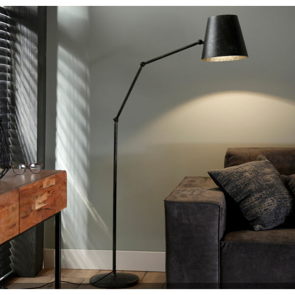 Iron industrial floor lamp